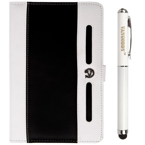 """Black & Whitevg Dauphine Edition Faux Leather Portfolio Case Cover For Hyundai X700 Hold X 7"""" Android 4.1.1 Rk3066 Dual-Core 1.6Ghz Tablet Pc + Vg Executive Stylus Pen With Integrated Laser Pointer And Led Reading Light"""