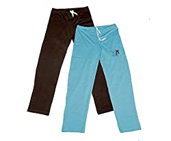 IndiWeaves Women Super Combo Pack 4 (Pack of 2 Lower/Track Pant and 2 T-Shirt)_Brown::Turquoise::Black ::White_XL