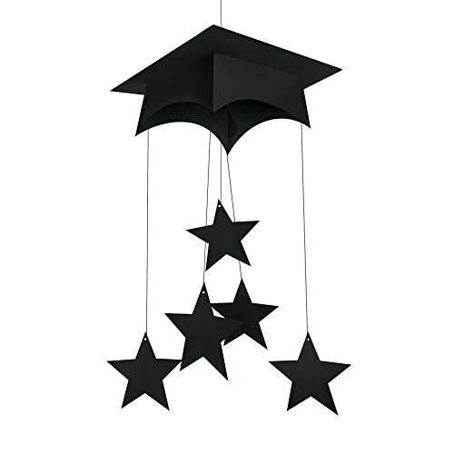 "Creative Converting Mortarboard Hanging Mobile Party Decoration, 24"", Black"