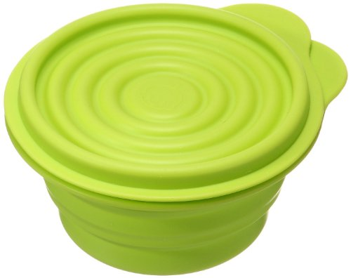 Lexington D080111-01-GRN Large Silicone Foldable Storage Bowl with Cover - Green