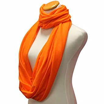 Luxury Divas Orange Lightweight Circle Ring Infinity Scarf