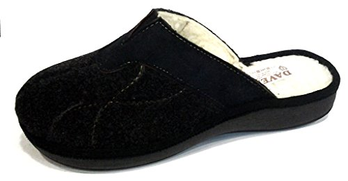 DAVEMA ciabatte pantofole lana da uomo INVERNALI mod. 1114 NERO (46)