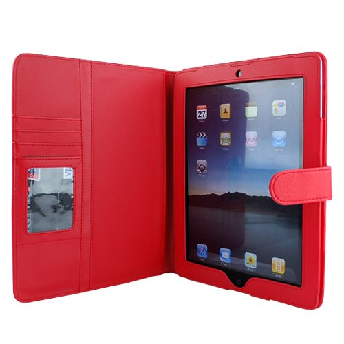 GTMax Red Folio Wallet Leather Protector Cover Case for Apple iPad 2 Wifi / 3G Model 16GB 32GB 64GB (Latest Generation)