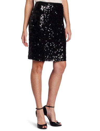 Calvin Klein Women's Sequin Pencil Skirt, Black, 12 Image