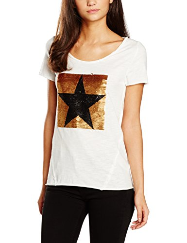 ONLY onlAURA S/S SEQUINS TOP BOX ESS, T-shirt Donna, Bianco (Cloud Dancer), 34 (Taglia Produttore: X-Small)
