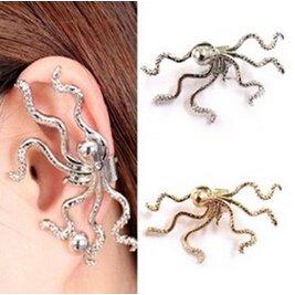 Bling Beauty Fashion Unique Punk Gold Silver Color Octopus Shape Ear Cuff Hook Non Pierced Ear Warpped Clip Earring For Women Fine Jewelry Earingsyj1992