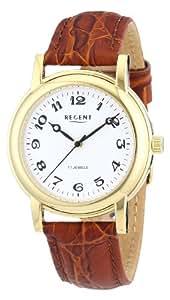 Regent Herren-Armbanduhr XL Analog Handaufzug Leder 11010019