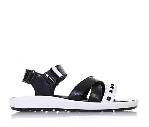 CIAO BIMBI - Sandalo nero e bianco in pelle, curata in ogni dettaglio, stile, qualità, con doppia chiusura a strappo, donna, ragazza, Bambina-38