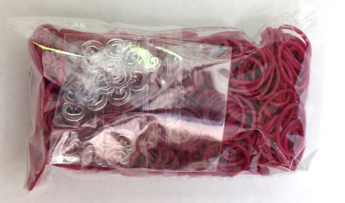 Rainbow Loom Latex Free Rubber Band Refill + C-clips - Fuchsia - 1