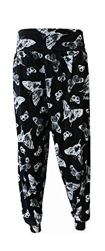 Ladies plus size Harem pantaloni da donna lunghezza piena elasticizzato pantaloni Casual Formati 12-26 Black Butterfly XL