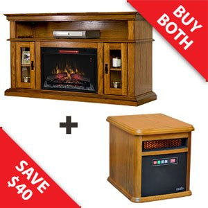 Classicflame Brookfield Infrared Media Console & Bristol Infrared Heater Combo - 26Mm2209-O107-9Hm9126-O142