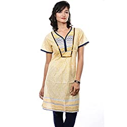 Saamarth Impex Yellow Color Printed Half Sleeve V Neck Reversible Style Cotton Kurtis SI-2084