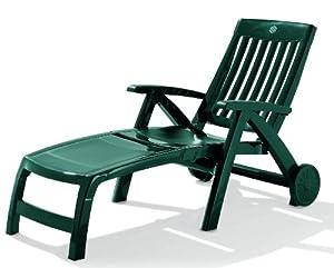 Sieger palma sdraio pieghevole a rotelle struttura in - Sdraio in plastica da giardino ...