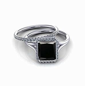 2.00 carat Emerald Cut Black Diamond & White Diamond Halo Bridal Set in 10k White Gold