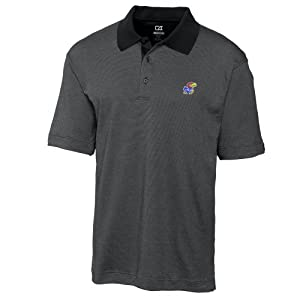 NCAA Mens Kansas Jayhawks Black Drytec Resolute Polo Tee by Cutter & Buck