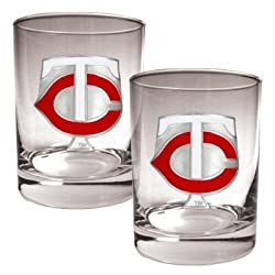 Minnesota Twins 2pc Rocks Glass Set - Primary Logo MLB Baseball