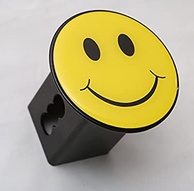 """Yellow Smiley Happy Face Trailer Metal Hitch Cover Fits 2"""" Receivers"""