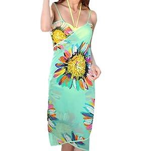 Zcargel Sexy V-Neck Chiffon SwimwearBeach Bikini Cover Up Dress (Light green)