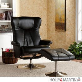 Holly & Martin Brayden Leather Recliner Chair and Ottoman in Black
