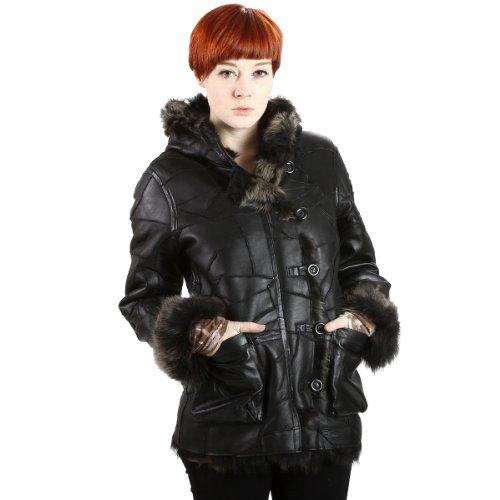 United Face Womens Black Lamb Fur Hooded Leather Coat, Black, 1X