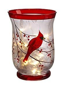 "Amazon.com - 6"" Christmas Cardinal Tealight Candle Holder with LED"