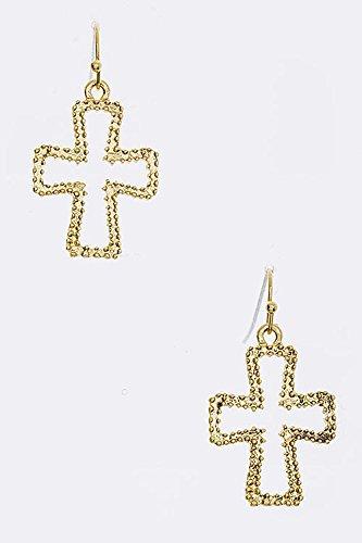 Karmas Canvas Textured Cutout Cross Earrings front-218574