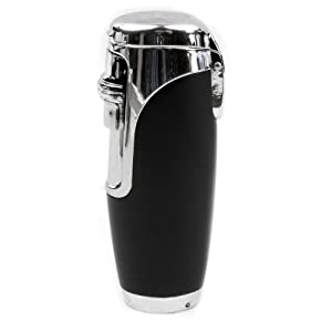 Elegant Windproof Triple Jet Cigar Torch Lighter with Neoprene Handle and Cigar Punch