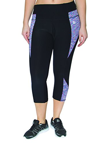 RBX Active Plus Size Seasonal Printed Capri Length Yoga Pants,Black / Purple Side Panel,2X Plus (Mustache Spandex Sheer Pantyhose)