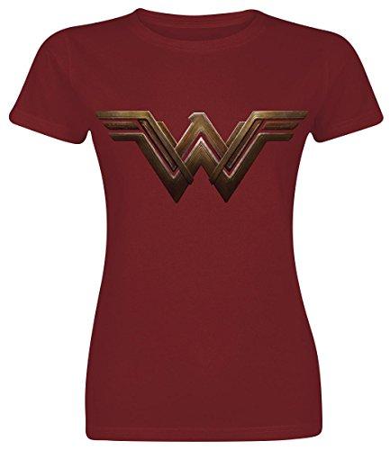 Batman v Superman Wonder Woman Logo Maglia donna rosso scuro S