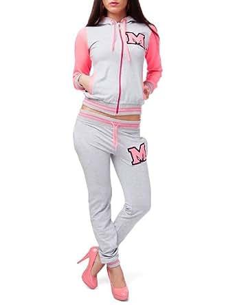 24brands - Damen College-Anzug / Sportanzug / Freizeitanzug - 2583, Größe:XXL;Farbe:Grau/Neonpink