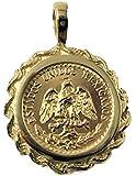 14k Gold 17mm Coin Pendant with a 22k Mexican Dos Pesos Coin 5741(random Year Coin)