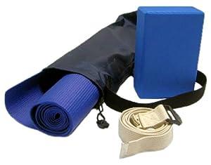 Yoga Kit For Beginners and Intermediates - Mat, Foam Block, Strap, Mat Bag - Blue