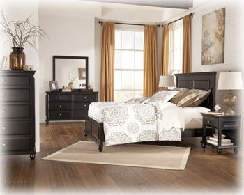 Ashley Owingsville Vintage Casual Queen Panel Bedroom in Rustic black painted