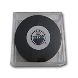 NHL Edmonton Oilers Souvenir Hockey Puck with Puck Square