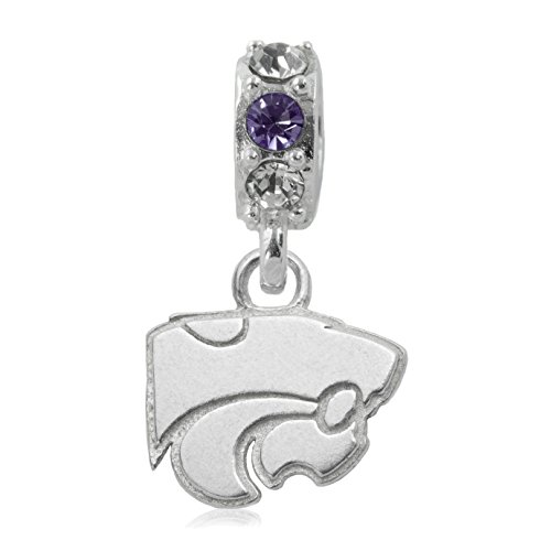 NCAA Kansas State Wildcats .925 Sterling Silver Charm Bead, Kansas State Jewelry
