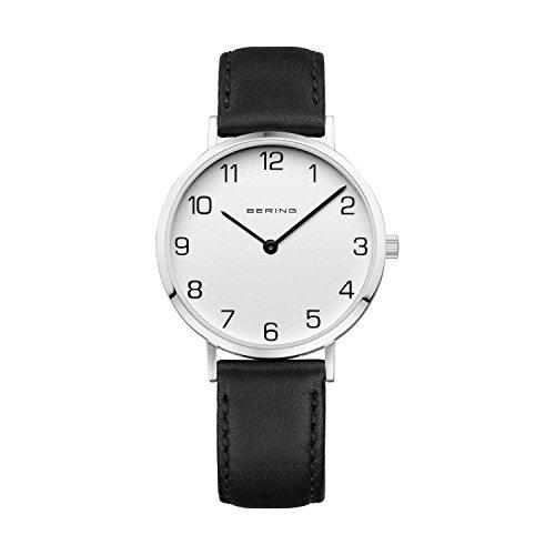 Bering Women's 34mm Black Calfskin Band Steel Case S. Sapphire Quartz White Dial Analog Watch 13934-404
