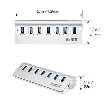 Anker® USB 3.0 7-Port Portable Aluminum Hub with 5V 4A Power Adapter and 3.3-Foot USB 3.0 Cable [VIA VL812 Chipset]