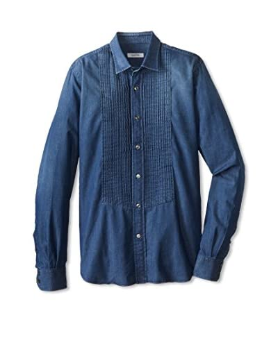 Valentino Men's Pleated Denim Shirt