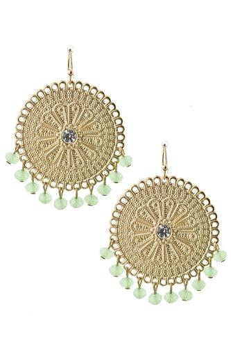 Trendy Fashion Jewelry Bead Dangle Round Metal Earrings By Fashion Destination   (Lt Green)