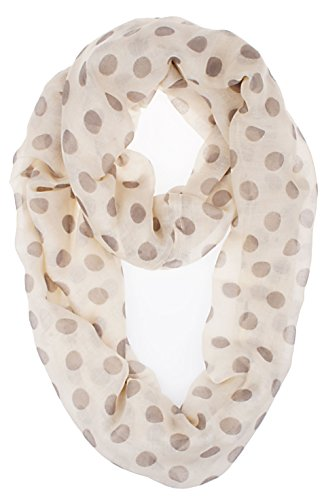 Vivian & Vincent Soft Light Weight Polka Dot Sheer Infinity Scarf Ivory White