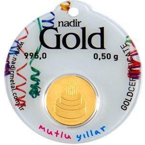 Goldbarren rund Goldmünze 0,5 g 0,5g Gramm Nadir Gold LBMA-zertifiziert - Geburtstag