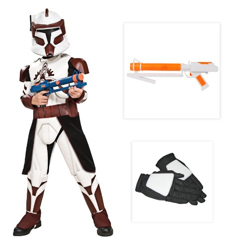 Star Wars Clone Deluxe Commander Fox Child Costume Including Gloves & Blaster-Small