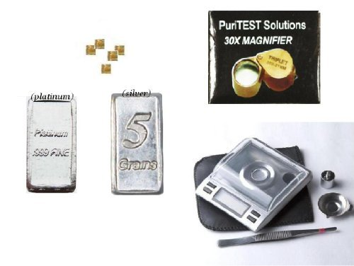 Complete Set Precious Metals Sample Bars With Coin Scale And Magnifying Glass front-452892