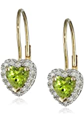 10k Yellow Gold Peridot and Diamond Heart Lever Back Earrings (0.14 Cttw, G-H Color, I2-I3 Clarity)