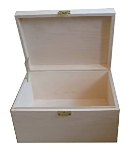 Extra Large Plain Unfinished Unpainted Wooden Keepsake or Memory Storage Boxes - Decorate your own. Craft Box Kits for use with acrylic paints, stain or varnish. An unusual gift for Boys, Girls or adults.