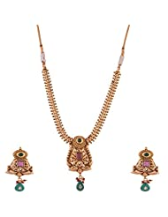 Ganapathy Gems 1 Gram Gold Plated Necklace Set With Pink And Green Stones - B00XJJ47NU