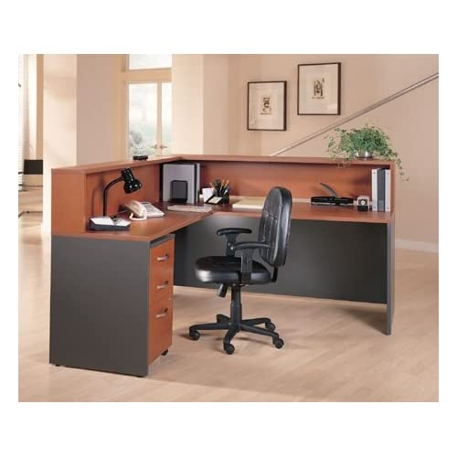 """Bush L Shaped Reception Desk 6"""" 5"""" X 5"""" 11"""" Height: 44"""" Features A Transaction Shelf, A Mobile Desk Drawer, Sturdy 1"""" Thick Surfaces & Grommets For Wire Management - Auburn Maple / Gray"""