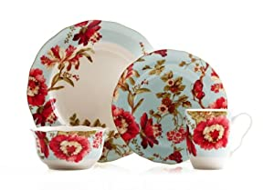 222 Fifth 16-Piece Dinnerware Set, Spring Botanical, Service for 4 by 222 Fifth