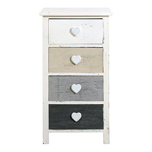Nachttisch-Kommode-Shabby-Chic-wei-Rebecca-Romantica-mit-4-Schubladen-in-farbigem-Holz-mit-Fen-in-einer-natrlichen-Stil-Cod-re4411
