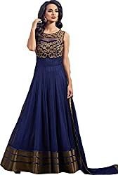 Z Fashion Women's Net Semi Stitched Ethnic Gown (Navy Blue Fancy Partywear Gown 001_Navy Blue_Free Size)